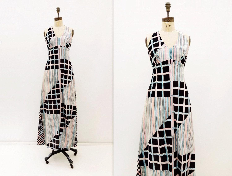 vintage robe maxi maxi robe des ann es 70 maxi robe etsy. Black Bedroom Furniture Sets. Home Design Ideas