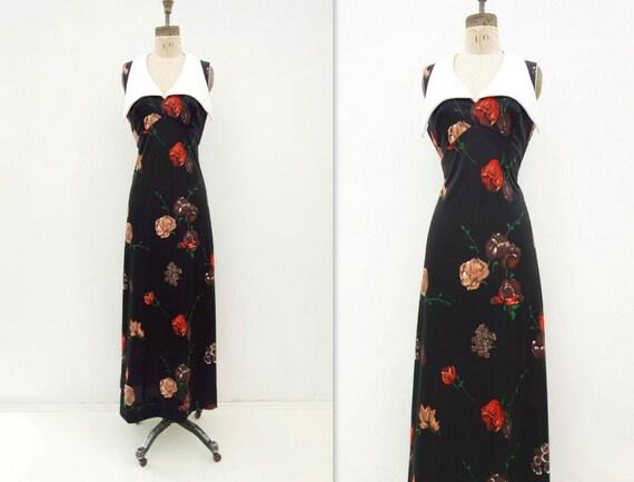 70s Maxi Dress Boho Maxi Dress Black Floral Maxi D