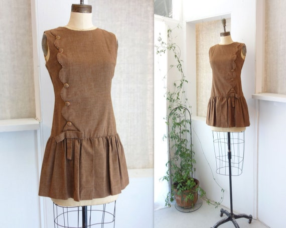 60s Mini Dress 60s Mod Dress Vintage Brown Dress 1