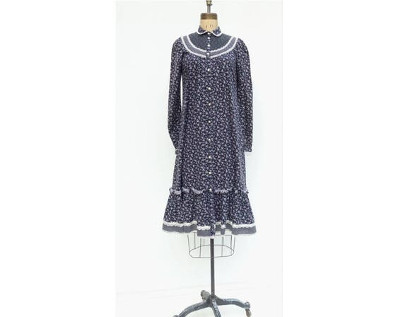Dress Boho Prairie Dress Dress Hippie Dress 70s Dress Vintage Dress Vintage Blue Dress Dress Dress Peasant Midi xs Floral Navy 70s Calico qXFwYt