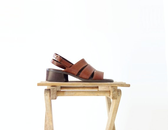 5 Vintage Heels 7 90s Heel Block 2 Leather Sandals 1 Low Sandals 7 Slingback Brown Sandals Sandal qtOAzzSU