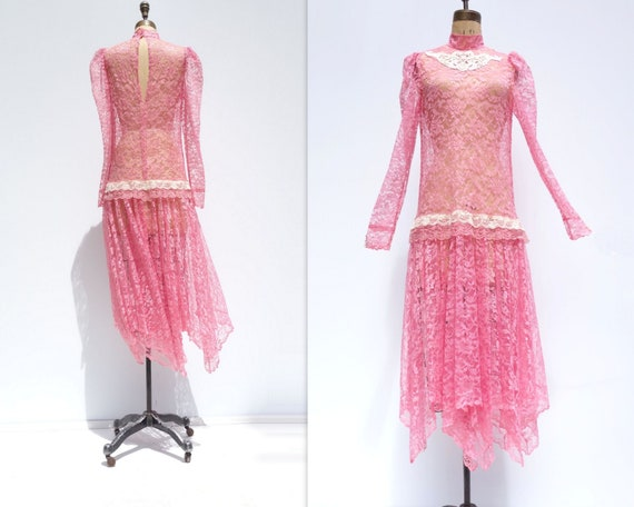 20s Style Dress Flapper Dress Sheer Lace Dress 80… - image 2