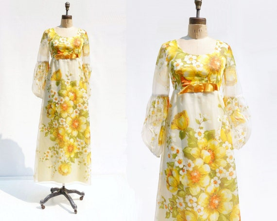 Chiffon 70s Dress Maxi Dress s Floral Dress Maxi 1970s Maxi Dress Dress Yellow Maxi FzFrwvtq