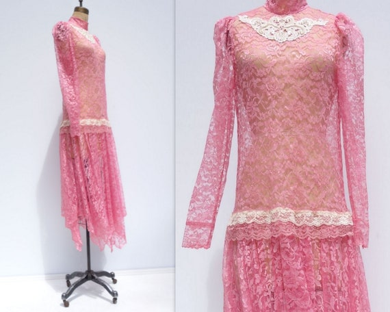 20s Style Dress Flapper Dress Sheer Lace Dress 80… - image 5