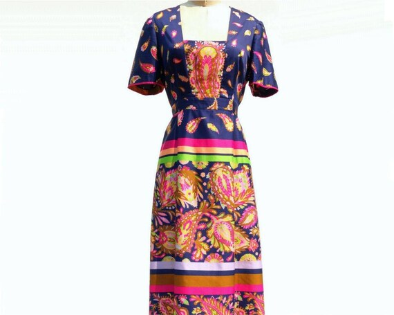 1970s Maxi Dress Floral Cotton Maxi Blue Dress Dress Maxi 70s Maxi Boho Paisley Navy Ethnic Maxi Large Dress Dress L Dress Dress U5znwqp