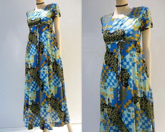 Vintage Maxi Dress Boho Maxi Dress Turquoise Dress