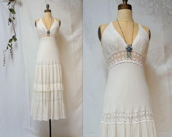 70s Boho Dress Vintage White Dress Boho Wedding Co