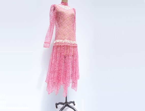20s Style Dress Flapper Dress Sheer Lace Dress 80… - image 3