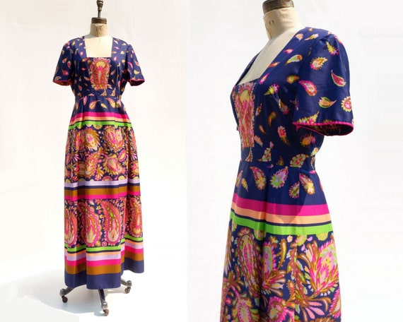 70s Maxi Dress Ethnic Folk Dress Boho Maxi Dress P