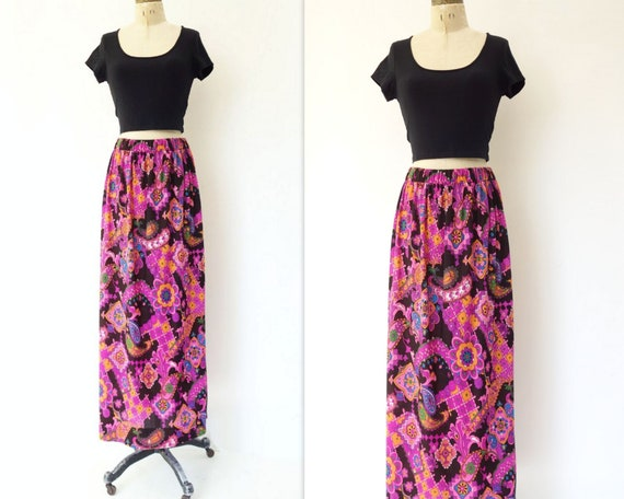 70s Maxi Skirt Floral Maxi Skirt Hawaiian Skirt Ps