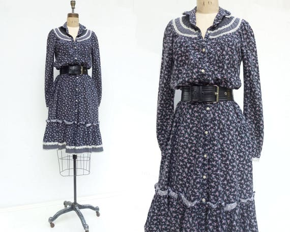 Floral Hippie Peasant Navy Vintage Prairie Dress 70s xs Dress Vintage Midi Blue Dress Dress Calico Dress 70s Dress Dress Dress Dress Boho aU00vBq