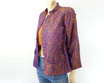 SALE Vintage Asian Jacket Kimono Jacket Silk Jacket Brocade Jacket Purple Orange 1980s Jacket m
