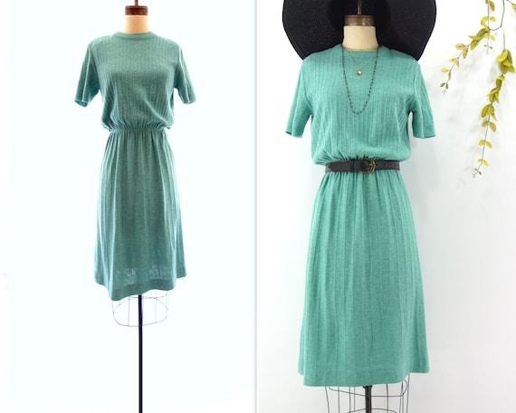 Vintage Knit Dress 70s Knit Dress Short Sleeve Dre