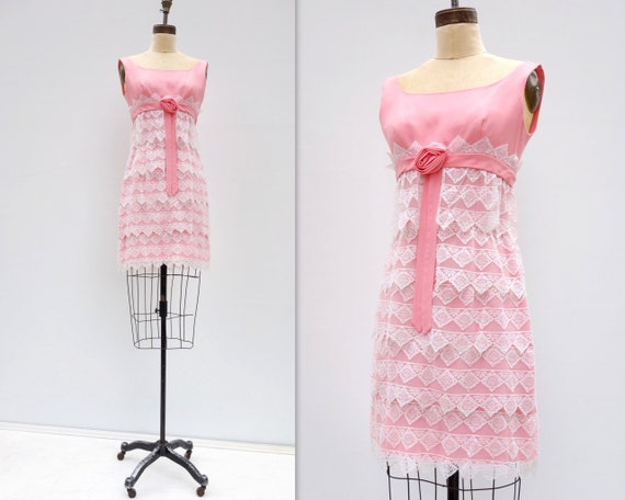 60s Mod Dress 60s Mini Dress 60s Party Dress Pink