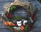 Fall, Thanksgiving, Christmas Owl Woodland Family 12 inch Wreath, Pumpkins, Jingle Bells, Santa Hats Custom Personalized made to order
