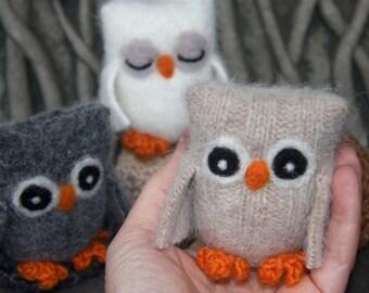 Adopt a Baby Owl ... angora eco wool felt owl nest brown white gray all three (3) (woolcrazy)