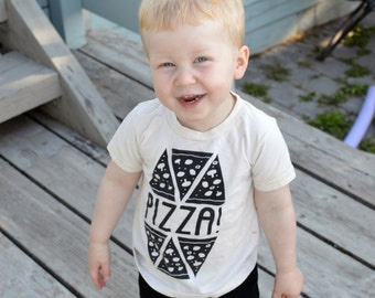 Pizza T-shirt - Kids Birthday Shirt, Organic and Handprinted, Chicago Style Pizza, New York Slice, Pizza fan, Pizza Party, gender neutral