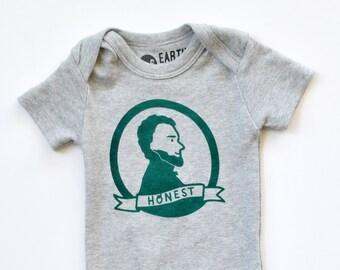 58246861837fe Honest Abe - Abraham Lincoln organic baby bodysuit, gender neutral, History  teacher present, eco-friendly, Illinois baby gift, Free Shipping
