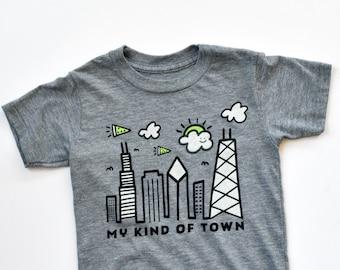8d4c1b7891d4a Chicago shirt for kids, sports fan gear, Chicago skyline, pizza, unique  shirt for kids, mid west, fun shirt for kids, soft t-shirt