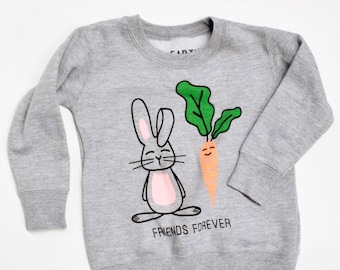 ec8e3741da01b Friends Forever, Carrot and Bunny cozy sweatshirt for kids, long sleeve,  cute design, gender neutral, first day of school, free shipping