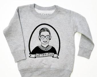 01dc844aa0e3d Notorious RBG - Ruth Bader Ginsburg, Long Sleeve Sweatshirt for Kids, Girl  Power, Feminist, birthday, gender neutral, free shipping