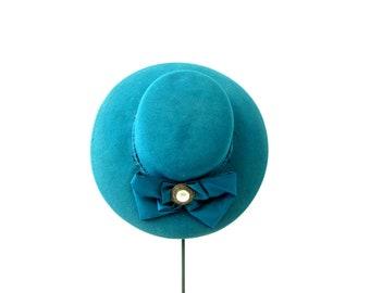 d33d61b311f 80s Head Hugger Hat Street Smart Preppy Wool Felt Fashion Brim Hat Retro  Hipster Large Bow Hat Teal Green Derby hat Women s Hat Small Medium
