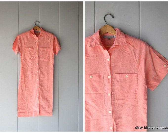 Pink Shirt Dress Short Sleeve Dress Simple Button Up 90s Vintage Cotton Midi Dress with Pockets Preppy Summer Womens Medium