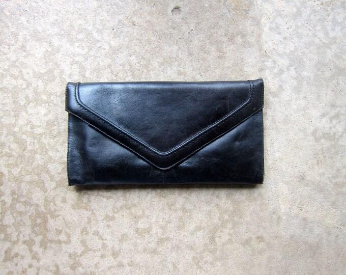 60s Black Leather Envelope Purse Modern Clutch Rectangular Hand Purse Classic Black Purse Simple Leather Bag