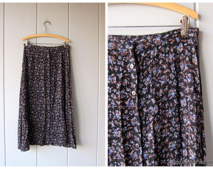 90s Floral Midi Skirt Button Front Black Blue Flower Print Long Spring Skirt High Waist Boho Preppy Revival Festival Skirt Medium / Large