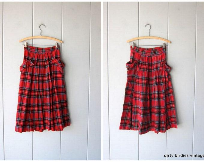 50s Plaid WOOL Skirt - Womens XS
