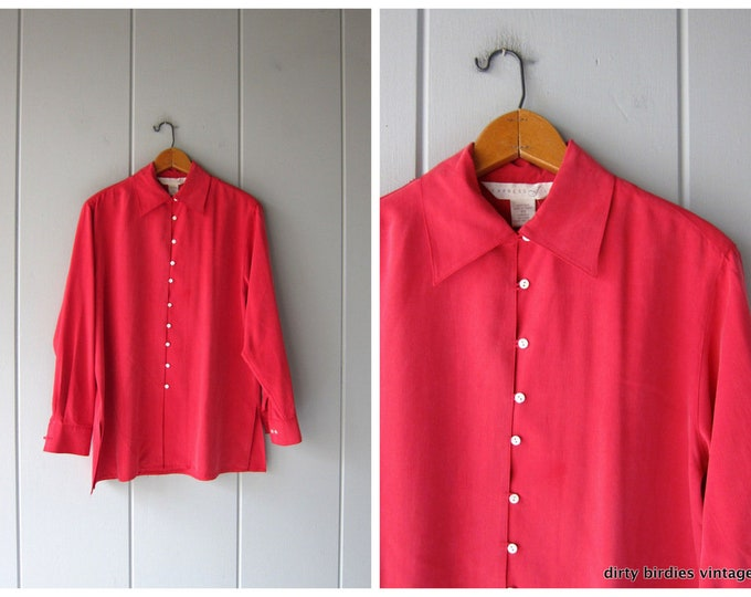 Cranberry Red Silk Top 90s Button Up Minimal Silk Blouse Vintage Modern Oversized Kimono Blouse Womens XS