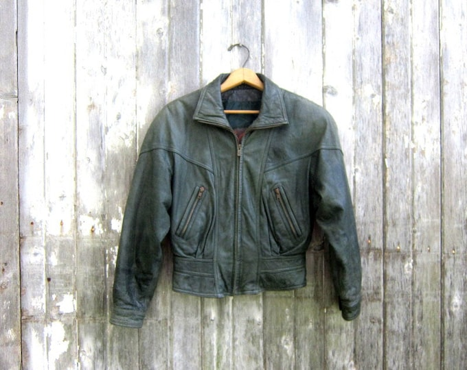Vintage 80s Green Leather Coat Cropped Leather Bomber Jacket Slouchy Jacket Crop Biker Motorcycle Jacket Women's Size XS