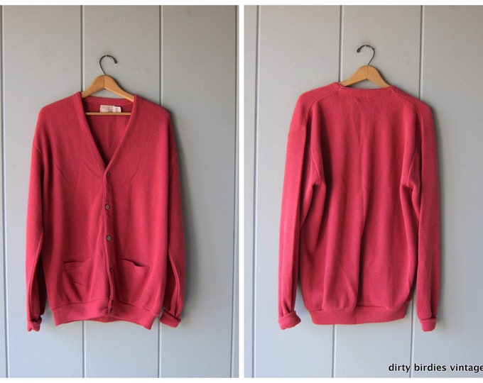 70s Oversized Cardigan Sweater Button Up Long Thin Knit Pink Sweater Vintage Preppy Basic Slouchy Jumper with Pockets XL