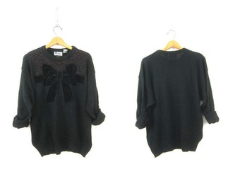 Black Velvet Bow Sweater 1980s Novelty Sweater 80s Vintage Holiday Jumper Hipster Top Womens size Large