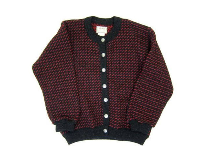 Thick Wool Cardigan Sweater Black Red Bulky Knit Button Up Sweater Womens Large