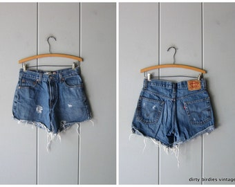 7499b235 Vintage 90s LEVIS jean shorts Cut off DISTRESSED denim shorts Grunge Boho  Frayed Ripped Up Shorts Women's S/M