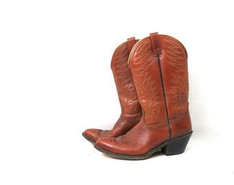 1980s Vintage Brown Leather Look Boots DINGO ACME Cowboy Boots Western Rockabilly Boots Mid Calf Boots Men/'s Boots Size 9
