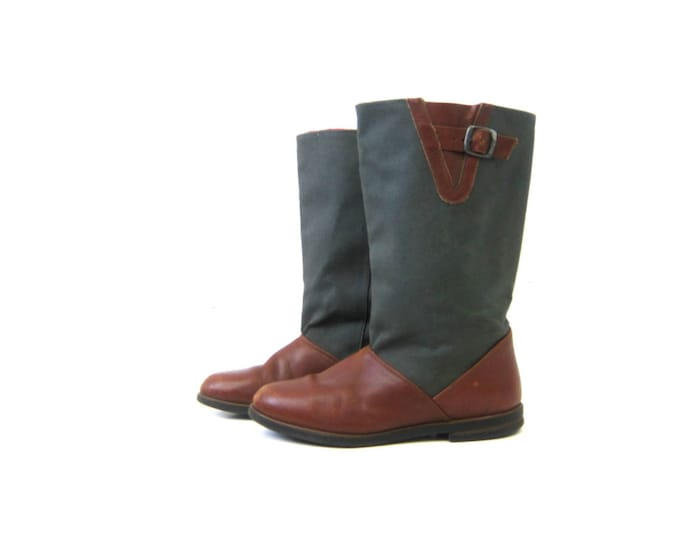 Tall Canvas Work Boots Brown Leather Slip On Boots Women's 8