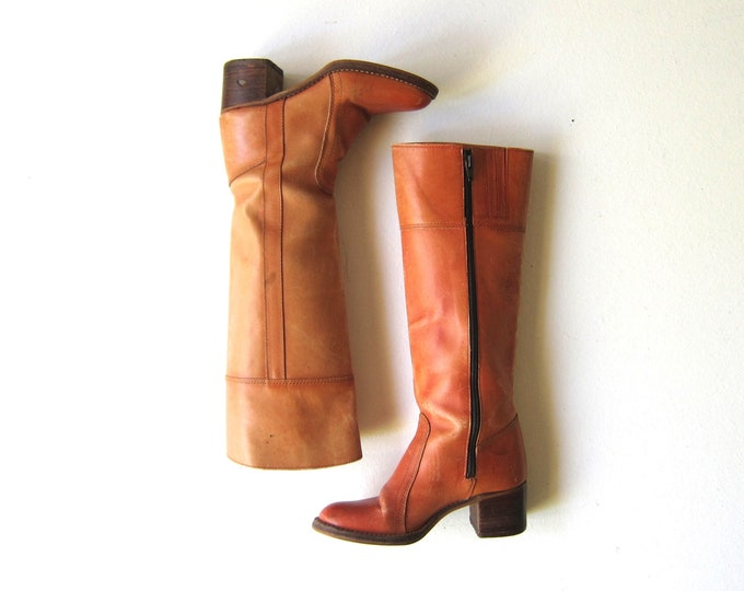 70s Leather Zip Up Boots