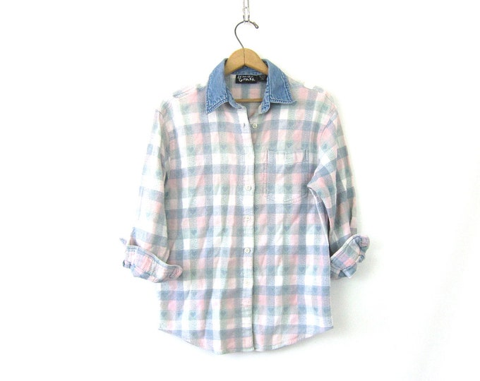1990s Hearts Shirt Button Up Denim Collar Shirt Cotton Flannel Pocket Top Vintage Blue and Pink Check Shirt Women's Size Medium Large