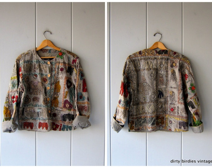 Vintage Cotton Indian Kantha Jacket Embroidered Coat Colorful Elephants Hearts Tribal Patchwork Jacket with Pockets DES Womens Medium