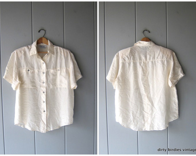 Natural White Silk Blouse Loose Fit 90s Cream Colored Silk Top Shirt Minimal Modern Casual Blouse Office Wear Vintage Medium