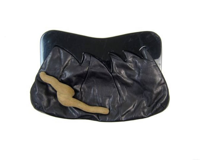 80s Black Leather Clutch
