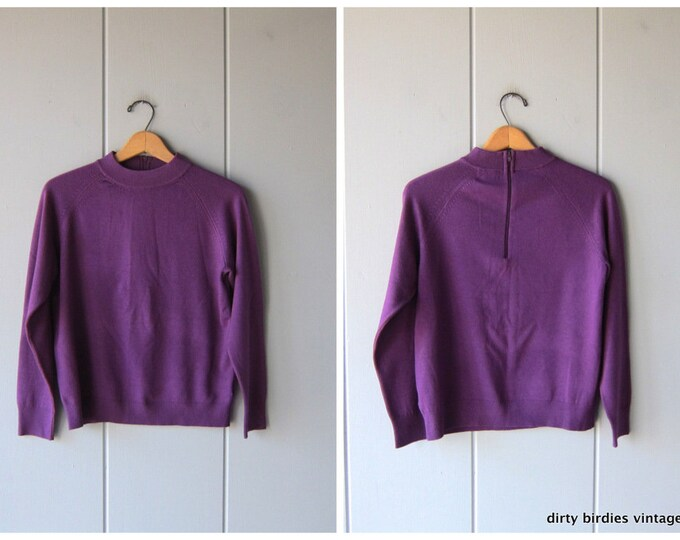 Basic Purple Sweater 90s Vintage Thin Knit Sweater Top Minimal Simple Long Sleeve Sweater Womens Small