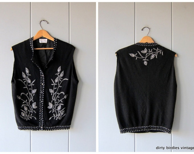 Black Beaded Sweater Vest 1950s Cashmere Cardigan Vintage 50s Button Up Sweater Holiday Flowers Floral Beaded Womens Large XL
