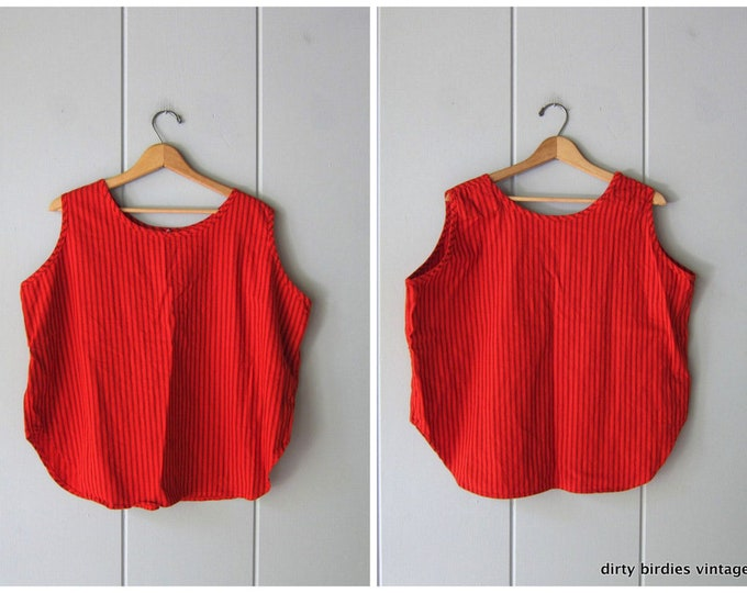 Oversized Red Striped Tank - 44 XL