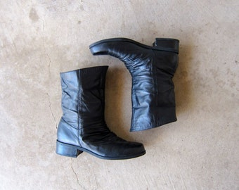 7b377ce92975 Tall Black leather boots fold over Boots Slouchy Motorcycle Boots grunge  boho 90s leather boots women s 7.5 - 8