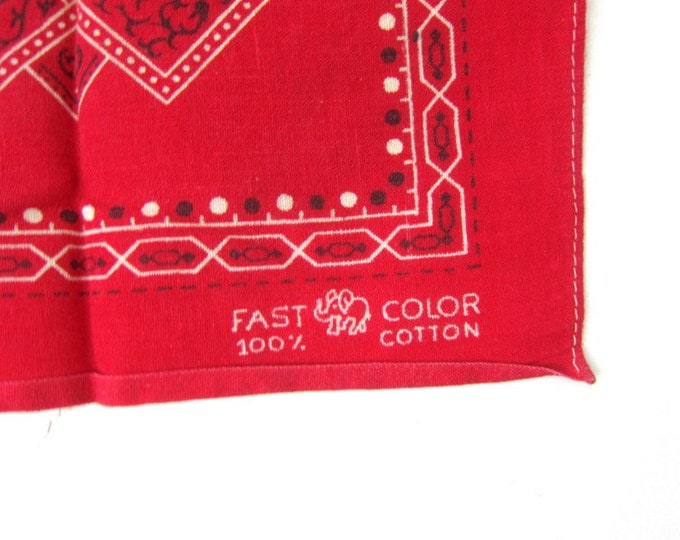 Vintage Red & White Bandana 1950s Cotton handkerchief Color Fast Hankie Rockabilly Indie Girl Hipster Elephant Trunk Up Fastcolor