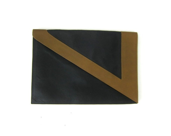1960s Black & Brown Clutch Retro Modern Envelope Purse Simple Leather Clutch Rectangular Purse Classic Purse Magnetic Hand Bag