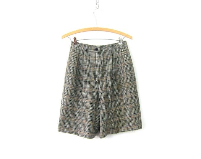 "Gray Wool Dress Shorts Preppy Pendleton High Waist Shorts High Rise Mom Shorts 90s WOOL Pocket Shorts Womens Size 6 26"" Waist"